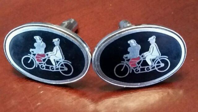 Vintage Tandem Bicycle Cufflinks cuff links cycling jewelry bike