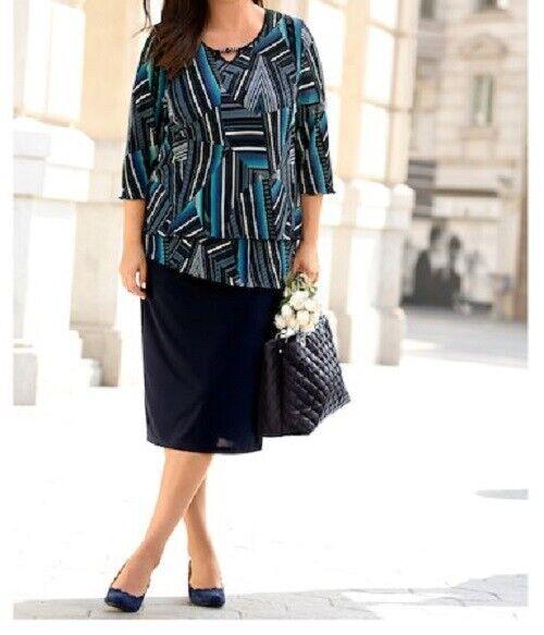 Plisseekleid Kleid Freizeitkleid Sommerkleid 2 in 1 Gr. 44 48 50 52 54 56 60 62