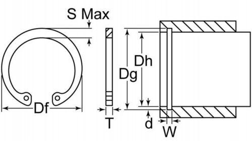 "Internal Circlip 13//16/"" Carbon Steel Rotor Clip Housing Retaining Snap Ring P..."