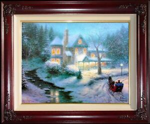 Thomas-Kinkade-DBL-SIGNED-Moonlit-Sleigh-Ride-9x12-S-N-Framed-Limited-Canvas