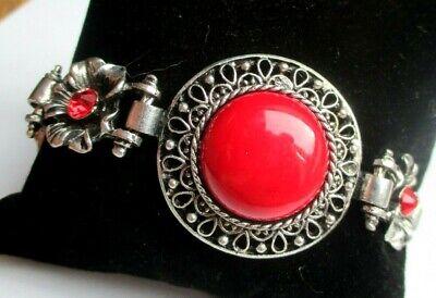 Accurato Bracelet Couleur Argent Perles Rouges Cristaux Rouges Ancien Bijou Vintage 308