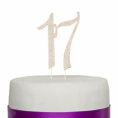 Awe Inspiring 17 Cake Topper For 17Th Birthday Rhinestone Number Party Supplies Birthday Cards Printable Riciscafe Filternl