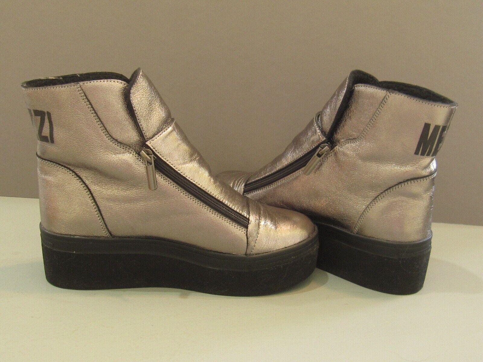 Ook Etiqueta Plata y Negro botas de plataforma dual Cremalleras EE. UU. 6.5