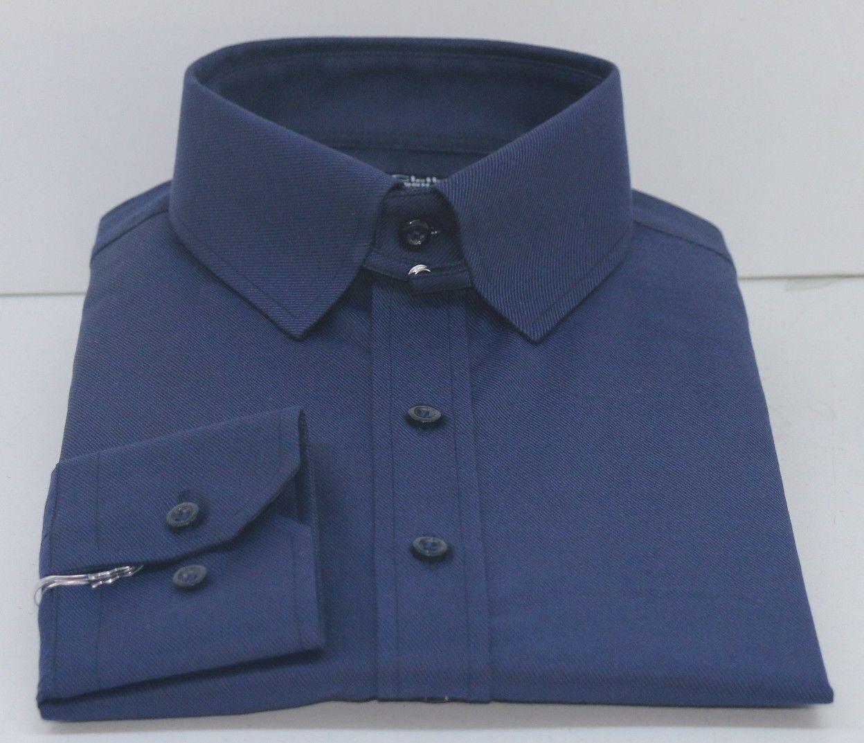Azul Marino para Hombre Tab Cuello de Camisa Manga Larga James Bond