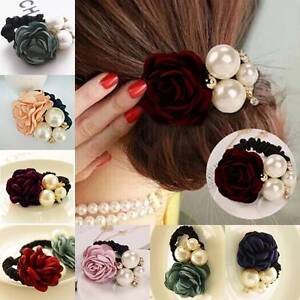 Women-Girls-Satin-Ribbon-Rose-Flower-Pearls-Hairband-Ponytail-Holder-Hair-Band