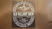 OLD AUSTRALIAN BEER LABEL, OLD BALLARAT BREWERY, LAGER