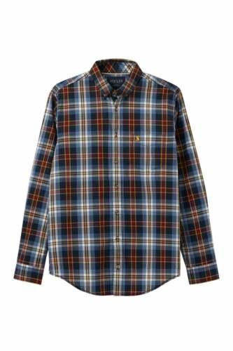 Joules Da Uomo Lyndhurst Check A Maniche Lunghe Camicia Aderente Classico-Blu Controllo Multi