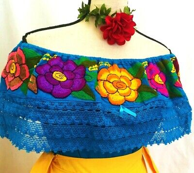 MEXICAN BLOUSE Embroidered Floral Chiapas top peasant Boho Cotton Frida Vtg NWT