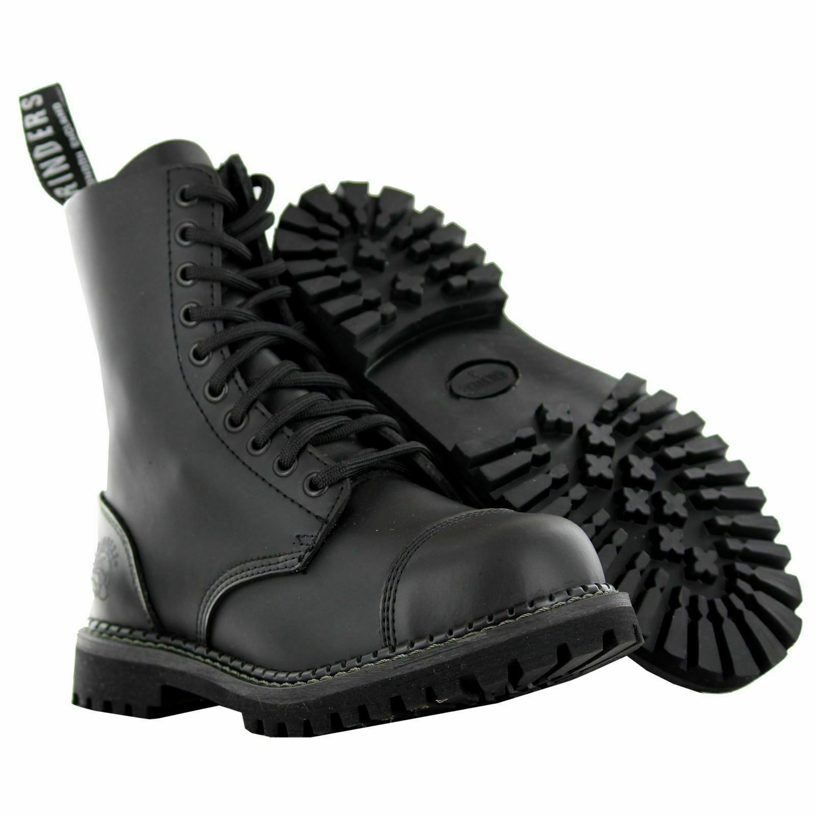 Men's Women's Grinders Stag Black Lace Up Leather Combat Uniform Boots New