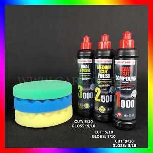 Menzerna 1000 2500 3000 Pâtes à Polir 3x 250ml 3x 3m Pads Kit De Polissage Ebay