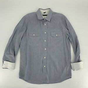 Theory-Mens-Long-Sleeve-Dress-Shirt-Size-L-Blue-Stripe-Timon-Button-Down-Cotton