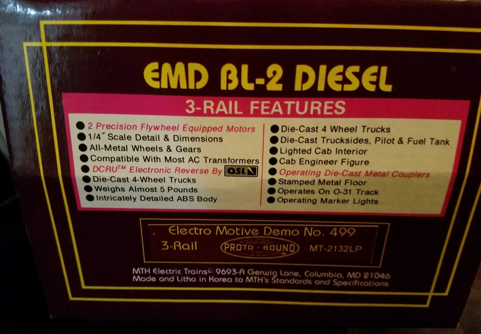 MTH   MT-2132LP, EMD BL-2 Diesel 3-rail con sonido Projoo