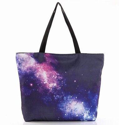 Women Printed Galaxy Handbag Simple Elegant Shoulder Bag Zipper Shopping Bag