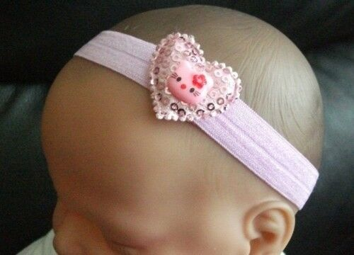 BABY GIRL//REBORN DOLL PINK SEQUIN HELLO KITTY HEADBAND