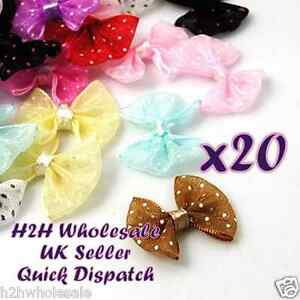 20-Organza-Ribbon-spotty-Bows-for-crafting-and-hair-accessory-making-Job-Lot-UK