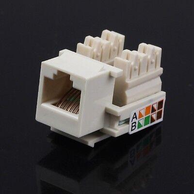 New 10pcs set RJ45 Cat5 Punch Down Keystone Jack Network Ethernet White Lot Pack