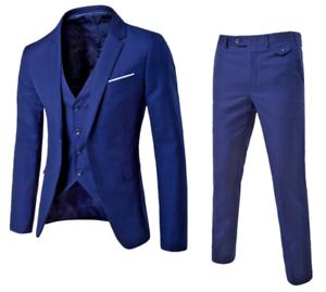 Premium Mens 3 Pieces Checked Casual Suit Grooms Wedding Slim fit Tuxedos