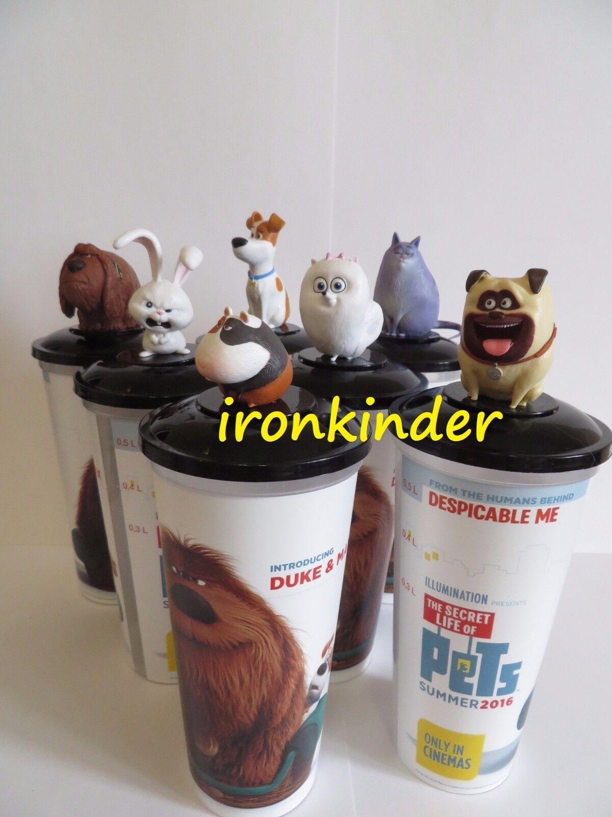 Copa Topper Vida Secreta De Mascotas Set Completo figura de película cine + Tazas