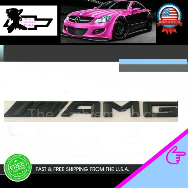 4 pack of 1 AMDCO FOR AMG DOUBLE GLOSS BLACK 57MM For MERCEDES BENZ AMG REAR Emblem Badge Stickers Decals Rear Crest Body with Strong 3M For ALL BENZ G CLASS