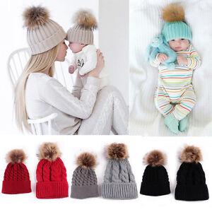 Newborn Baby Boys Girls Winter Warm Faux Fur Pom Bobble Knit Beanie Hat New