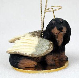 Dachshund Ornament Angel Figurine Hand Painted Black Longhair