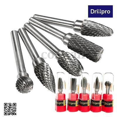 Drillpro 5pcs 1/4'' Tungsten Carbide Rotary Point Burr Die Grinder Shank Set