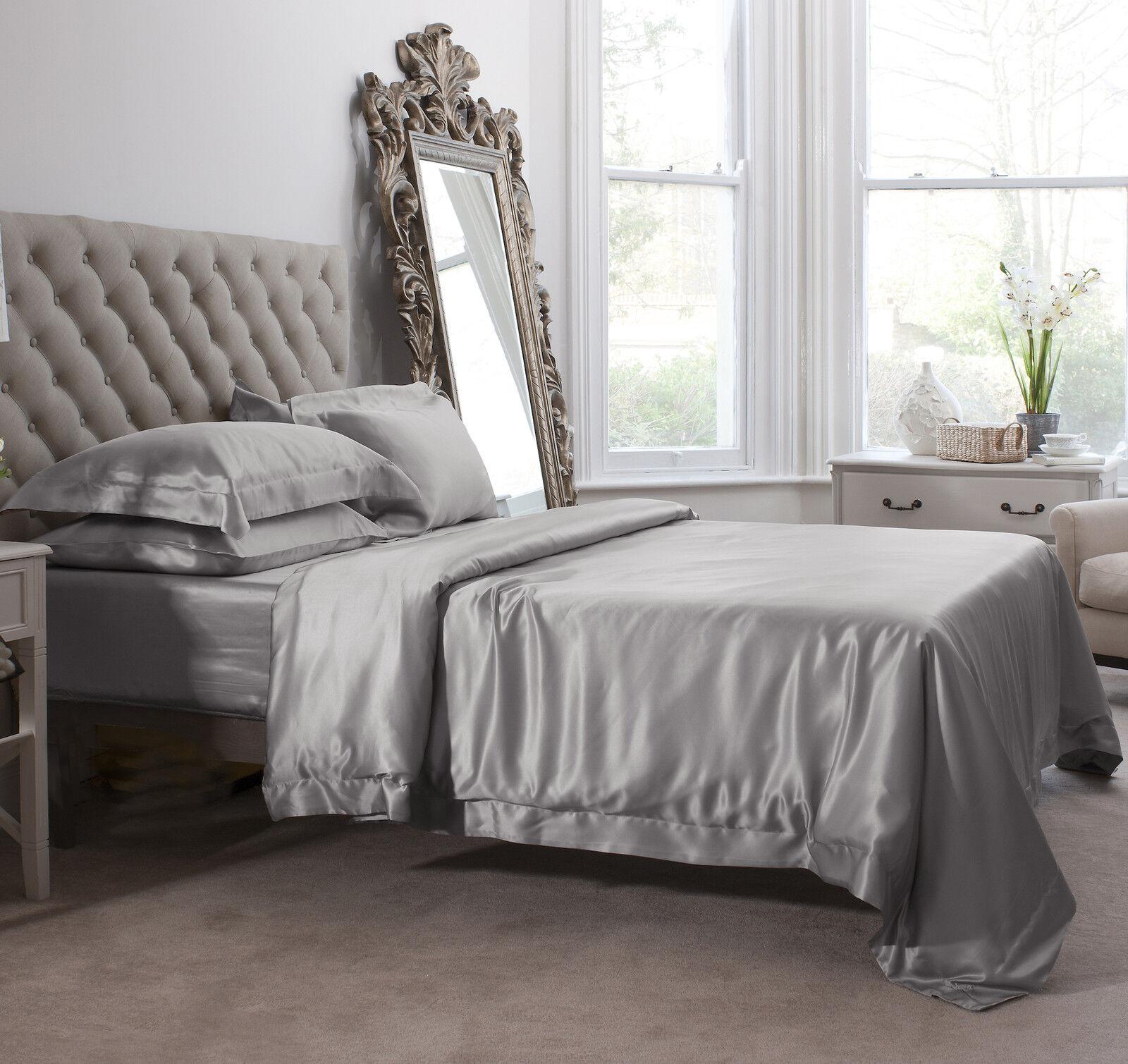 Jasmine Silk 6pcs 100% Charmeuse Seide Bettbezug Set Set Set grau King | Elegant Und Würdevoll  bae5cb
