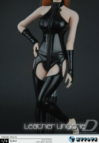 """1//6 Black high collar corset leather coat clothes Set For 12/"""" Figure Female Body"""