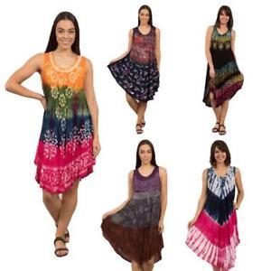 Caroline-Morgan-Casual-Summer-Beach-Holiday-Tie-Dye-Dress-Gypsy-Umbrella-Dresses