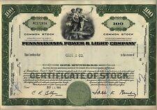 Pennsylvania Power & Light Company Stock Certificate PPL Allentown