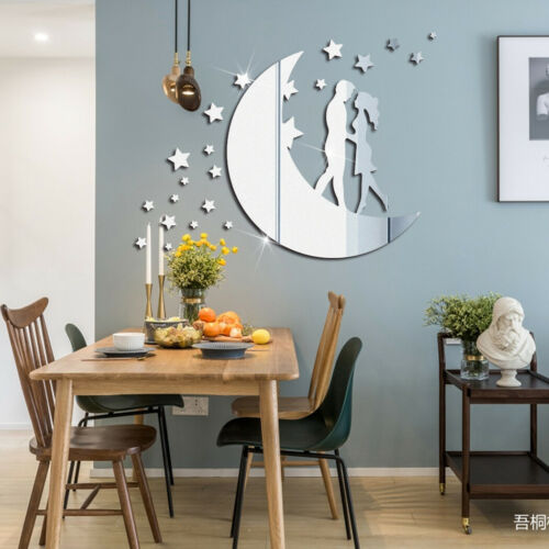 Removable 3D Acrylic Mirror Valentine Moon And Stars Wall Sticker Home DECOR