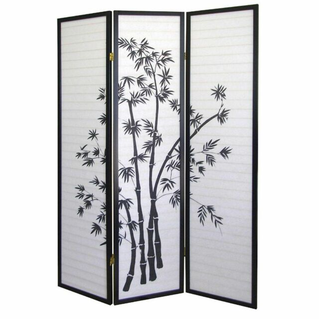 8 4 /& 3 Panel Bamboo Print Wood Shoji Room Divider Screen NEW 6