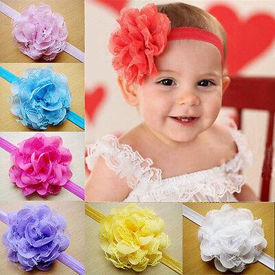 Headband Mesh Lace Chiffon Flower Hair Bow Headdress Hair Band For Girls Kids