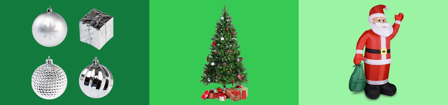 Weihnachtsbäume, -deko und Co. im Angebot