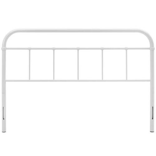 Vintage Style White Metal Queen Size Headboard