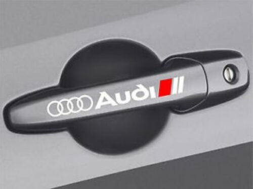 2x White Premium Door Handle Decals stickers fits all audi models