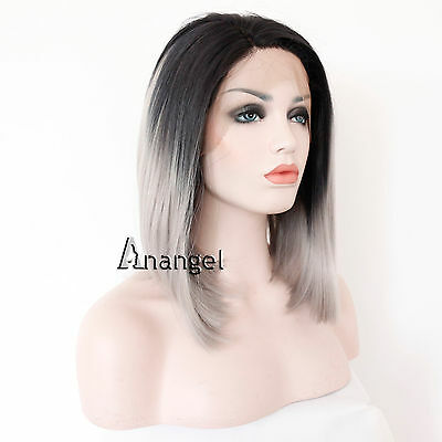 Short Bob Ombre Grey Dark Roots Heat Resistant Synthetic Hair Lace Front Wigs