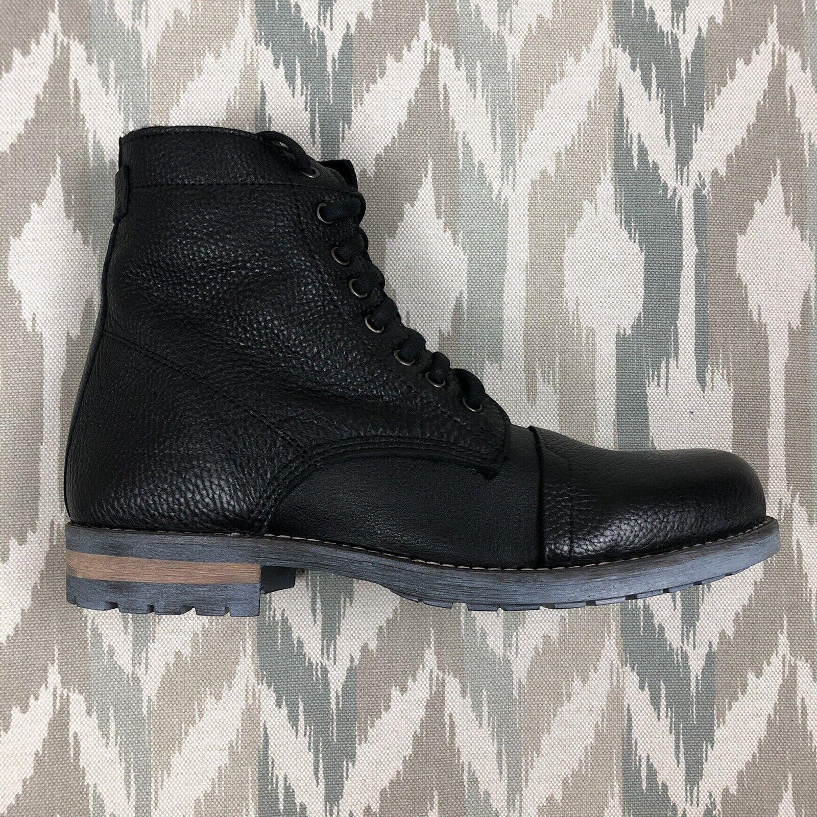 Luxe De Leon Mens ARCO Faux Fur Closed Toe Ankle Black Leather Boots Chose Sz