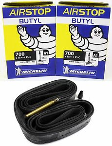 2-Two-Michelin-Airstop-Butyl-Road-Bicycle-Tubes-700x18-23-25-52mm-Presta-700c