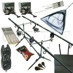 Full Carp fishing Set Up Complete With Rods Reels Alarms Net Bait Tackle
