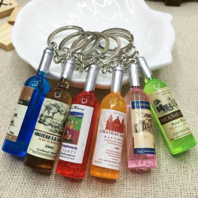 \ Women//Men/'s Fashion Handmade Resin Wine Bottle Key Chains Key Rings Charms s