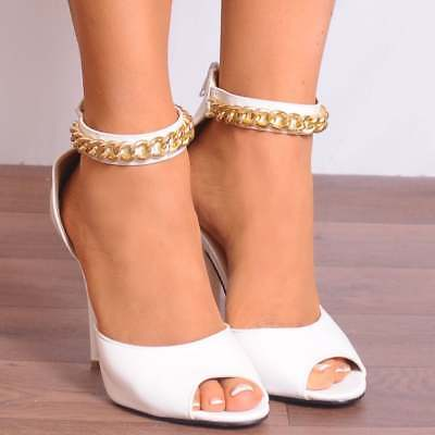 WOMENS GOLD METAL CHAIN STRAPPY SANDALS HIGH HEELS PEEP TOES SHOES SIZE 3 4 5 6