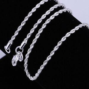 ASAMO-Damen-Herren-Kordelkette-gedreht-925-Sterling-Silber-plattiert-Halskette