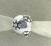 Kb-9 Chamilia Sterling Silver & 14 Karat Gold Flowers Bead Retired Rare