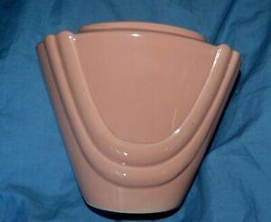 INARCO-1985-Art-Deco-Narrow-Triangle-Drapes-ceramic-Coral-Planter