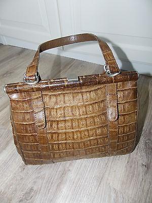40er 50er Jahre Tasche Leder Echtleder no Retro vintage Maulverschluss Luxus