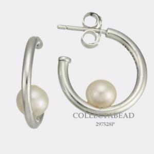 fafced6f9df55 Details about Authentic Pandora Sterling Silver Contemporary Pearl Hoop  Earrings 297528P *NEW*