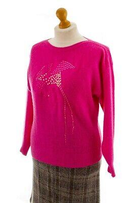 Creativo Vintage Orig 80er 90er Maglione Rosa Lana Di Agnello Angora Ricamato Motivo Uccelli M-