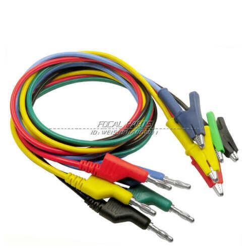 5x Test Probe Lead Cable Silicone Banana Plug To Crocodile Alligator Clip M556