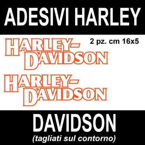 2 PEZZI ADESIVO ADESIVI SCRITTA HARLEY DAVIDSON BIANCO ARANCIO VERNICIABILE!!